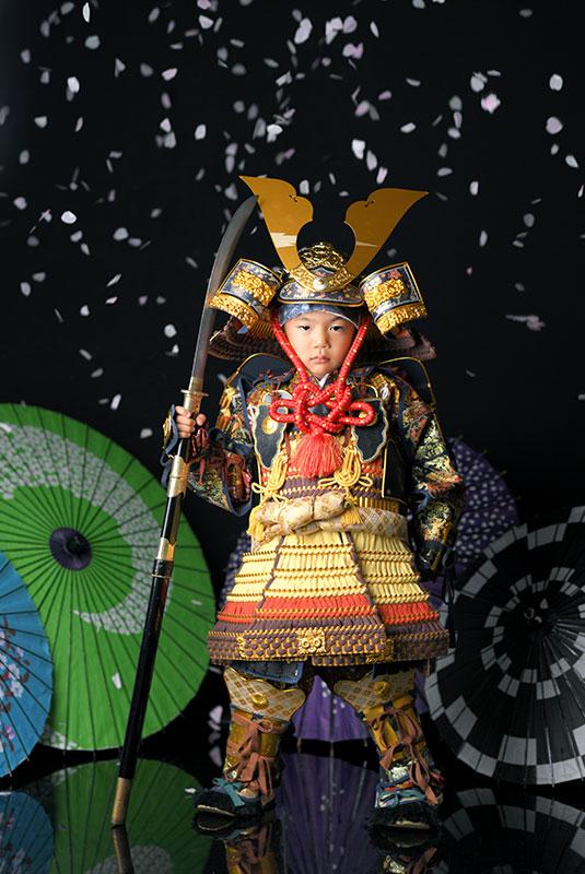 七五三 5歳 男の子 鎧兜 紺兜 薙刀 桜吹雪