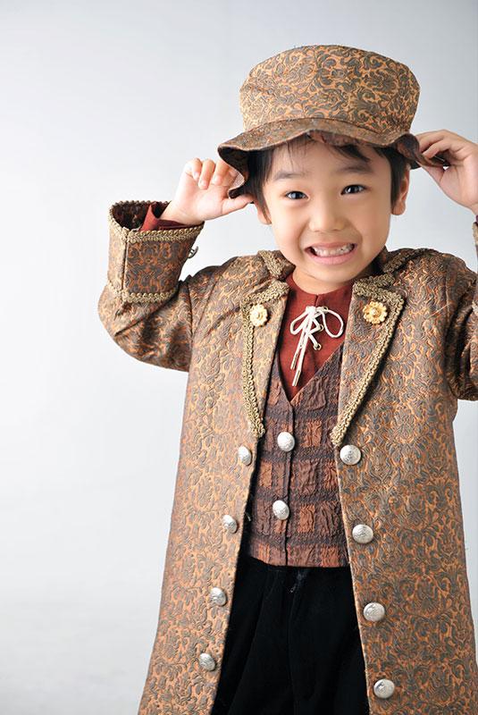 七五三 5歳 男の子 おしゃれ 洋装 茶色 ステッキ ハット
