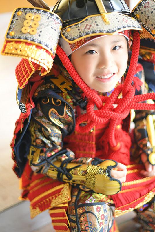 七五三 5歳 男の子 鎧兜 幸村兜 自然光