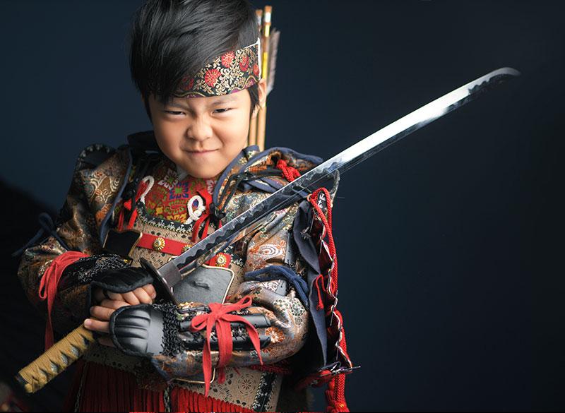 七五三 5歳 男の子 鎧兜 義経 矢筒 刀 剣