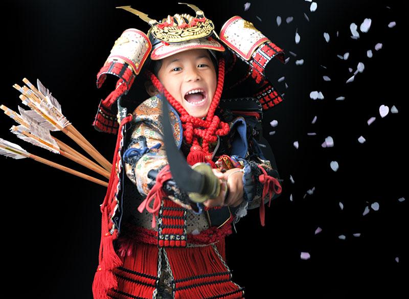 七五三 5歳 男の子 鎧兜 義経 薙刀 矢筒 桜吹雪
