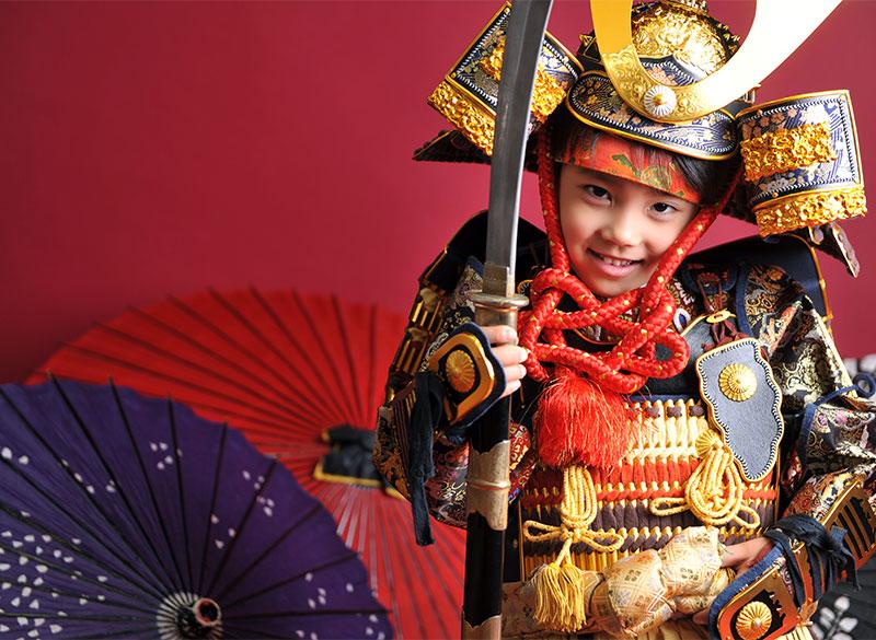 七五三 5歳 男の子 鎧兜 紺兜 薙刀