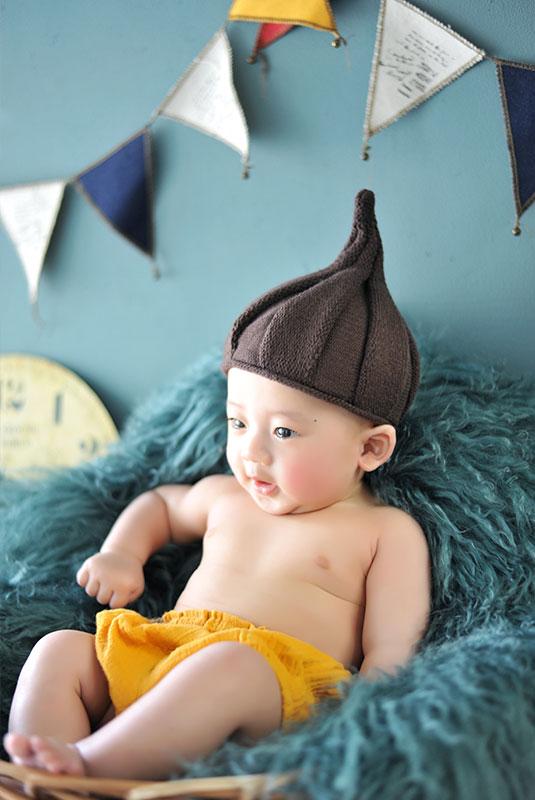 ハーフバースデー 男の子 はだかんぼ どんぐり帽子
