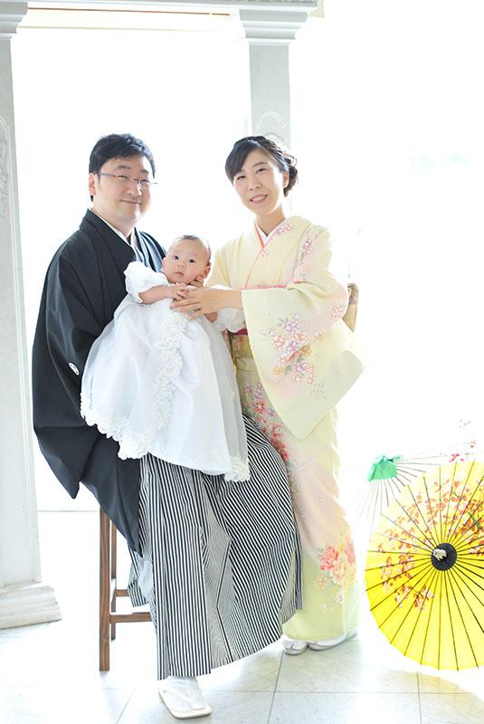 お宮参り 男の子 ベビードレス 父母和装 家族写真