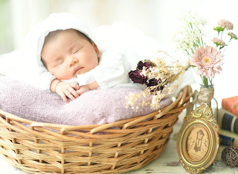 お宮参り 女の子 ベビードレス 自然光 寝てても可愛い