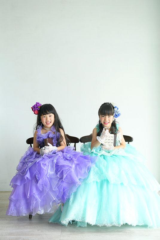 七五三 姉妹写真 2人 ドレス 自然光 カジュアル