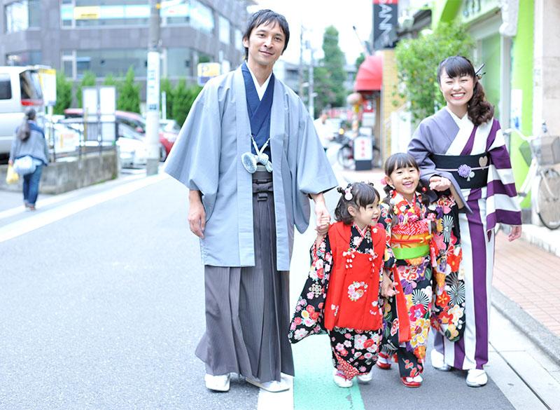 七五三 家族写真 4人 着物 家族和装 ロケフォト