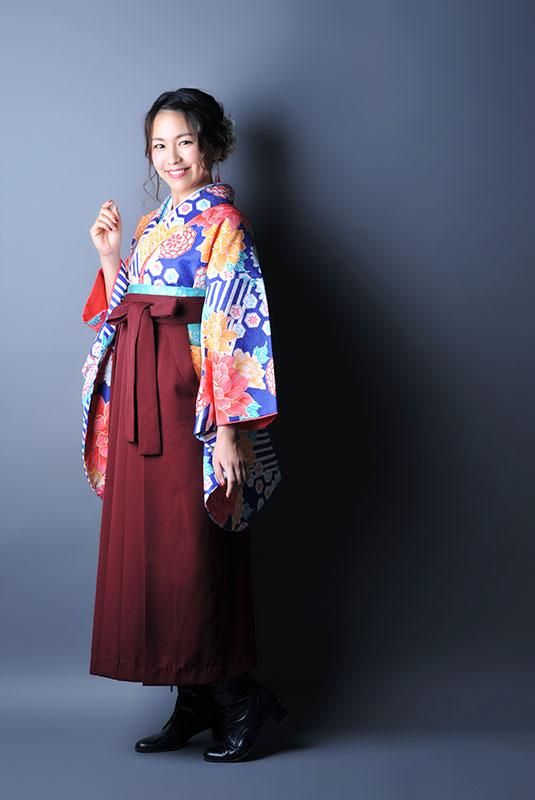 卒業袴 着物 青 袴 えんじ色 ストロボ ライティング きれい
