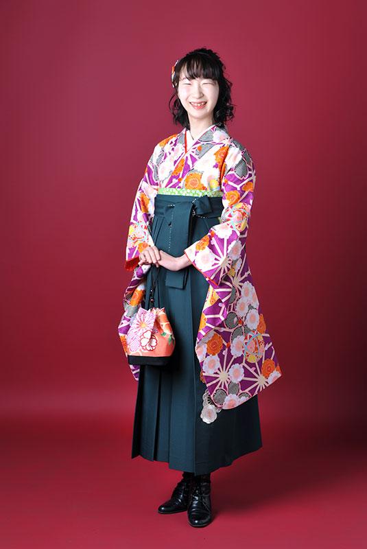 卒業袴 着物 紫 袴 緑 ストロボ ライティング おしゃれ