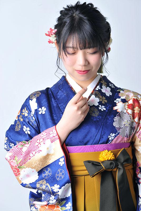 卒業袴 着物 青 袴 マスタード ストロボ ライティング きれい