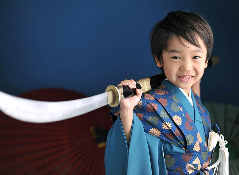 七五三 5歳 男の子 時代衣裳 裃 薙刀 ストロボ ライティング 重厚感