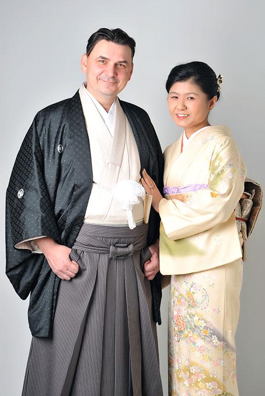 記念 夫婦写真 和装 着物 ストロボ