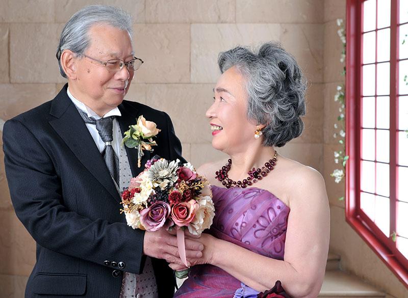 金婚式 記念 夫婦写真 ドレス タキシード