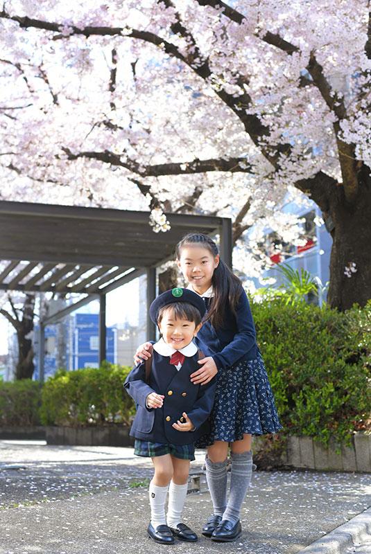 幼稚園 入園 男の子 姉弟写真 ロケ写真 桜と一緒に