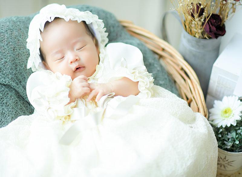 お宮参り 男の子 ベビードレス 自然光 寝てても可愛い