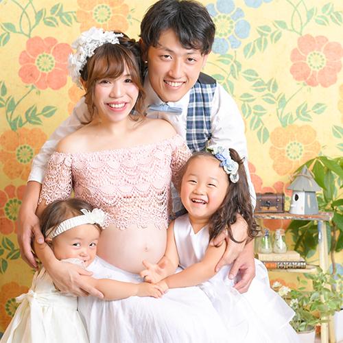 マタニティフォト 家族写真 4人 カジュアル おしゃれ