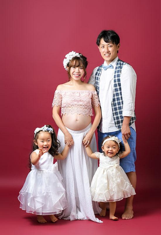 マタニティフォト 家族写真 4人