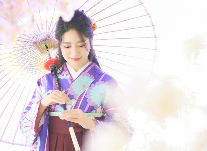 卒業袴 着物 紫 袴 えんじ 和傘 桜